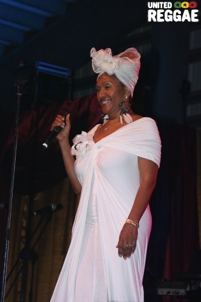 Marcia Griffiths announcing Bob Andy's birthday © Steve James