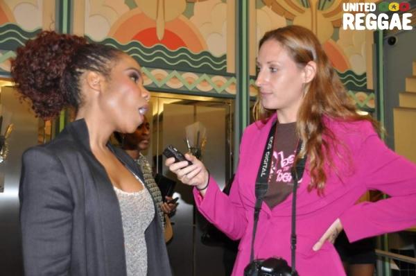 Heidi Wollenweber interviewing Cedella Marley © Gail Zucker