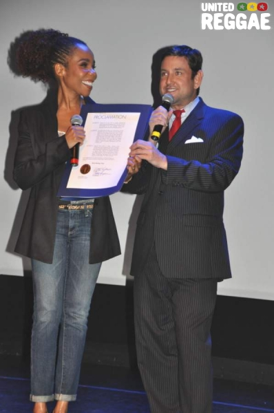 Cedella Marley receiving proclamation by Miami Beach City Commissioner © Gail Zucker