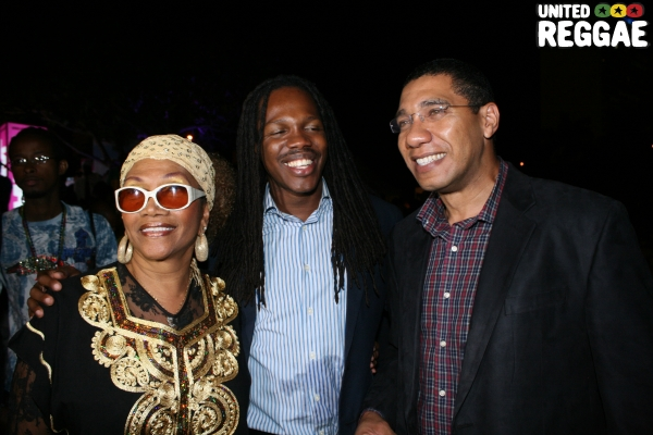 Marcia Griffths, State Minister Damian Crawford and Opposition Leader, Andrew Holness © Steve James