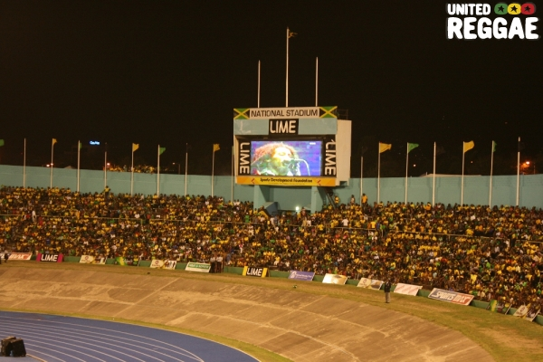 Marley beams on the screen in celebration of Rastafarian culture © Steve James