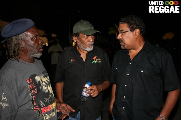 Producer and concert organizer Leggo, Junior Lincoln, and Wickham McNeil © Steve James