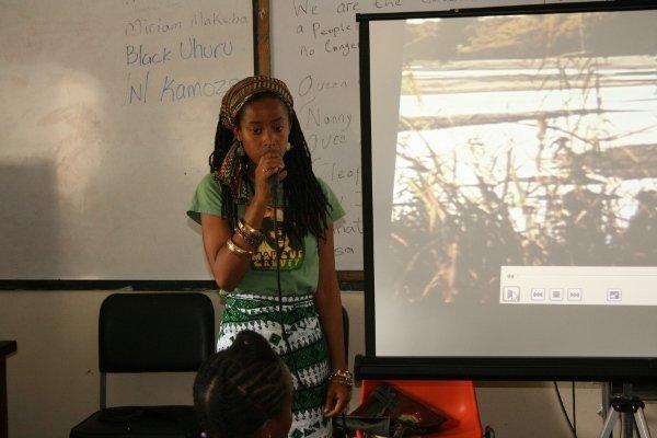 Donisha Prendegrast, Bob Marley grand daughter reasons with students © Steve James