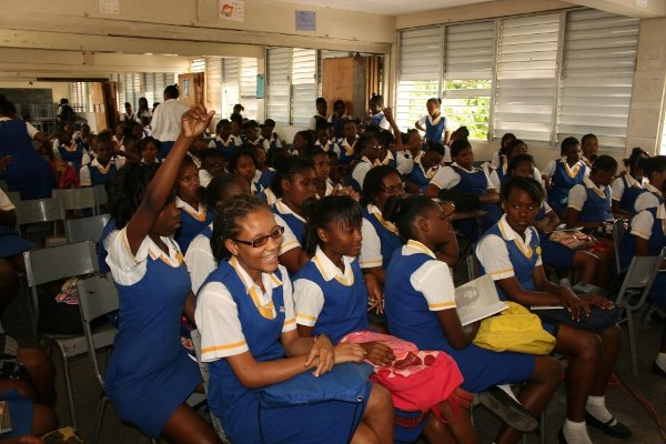 Students of St. Hughs High School listen keenly © Steve James