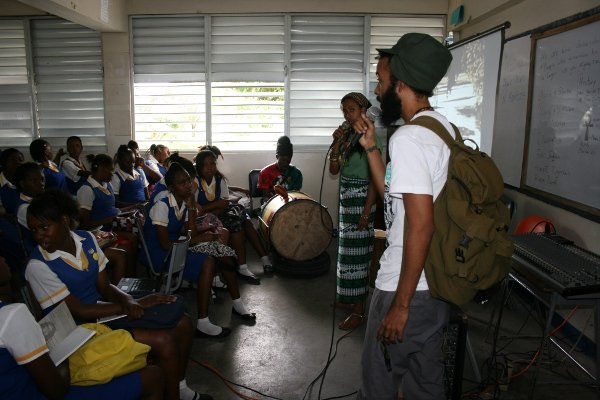 Protoje reason with the students of St. Hughs © Steve James
